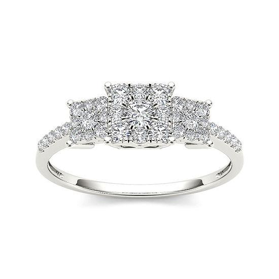 1 2 Ct Tw Diamond 10k White Gold Engagement Ring