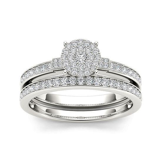 1/2 CT. T.W. Diamond Cluster 10K White Gold Bridal Set