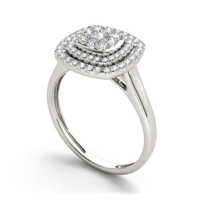 1/2 CT. T.W. Diamond Halo 10K White Gold Engagement Ring