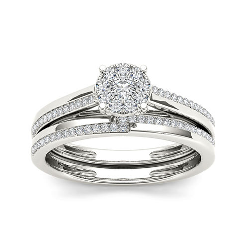 1/3 CT. T.W. Diamond 10K White Gold Round Cluster Bridal Set