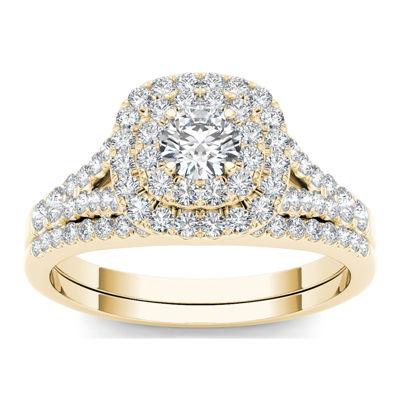 1 CT. T.W. Diamond Halo 10K Yellow Gold Engagement Ring Set