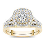 1 CT. T.W. Diamond Halo 10K Yellow Gold Engagement Ring Set