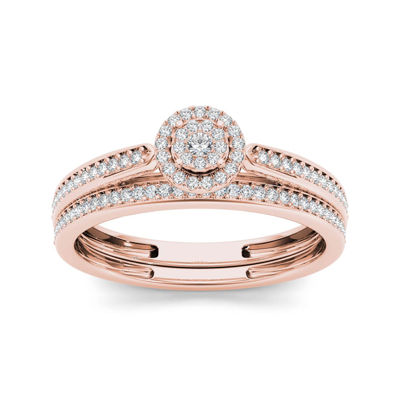 1/4 CT. T.W. Diamond 10K Rose Gold Bridal Ring Set