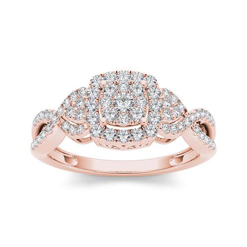 1/2 CT. T.W. Diamond 10K Rose Gold Engagement Ring