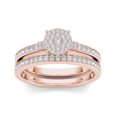 1/2 CT. T.W. Diamond Cluster 10K Rose Gold Bridal Ring Set