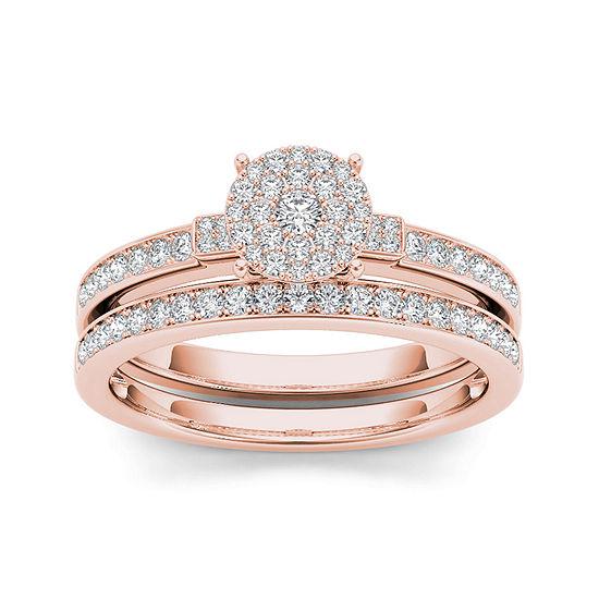 1/2 CT. T.W. Diamond Cluster 10K Rose Gold Bridal Ring Set