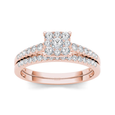 1/2 CT. T.W. Diamond 10K Rose Gold Bridal Ring Set