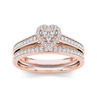 1/2 CT. T.W. Diamond 10K Rose Gold Heart-Shaped Bridal Set
