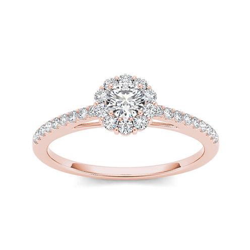 1/2 CT. T.W. Diamond 10K Rose Gold Halo Engagement Ring