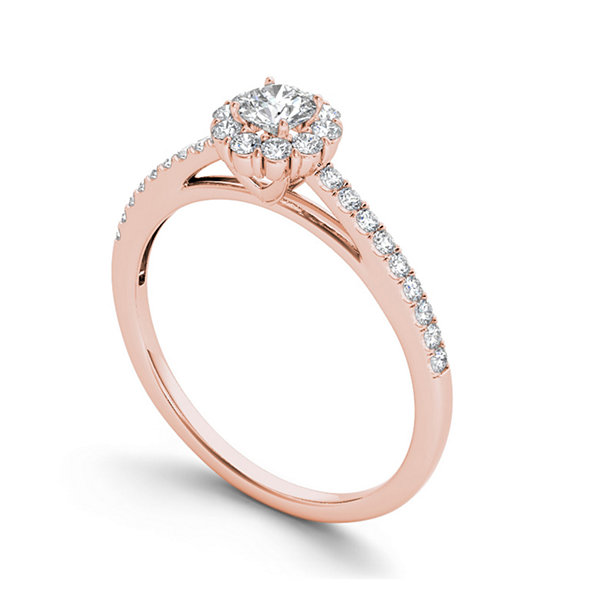 1/2 CT. T.W. Diamond 10K Rose Gold Halo Engagement Ring
