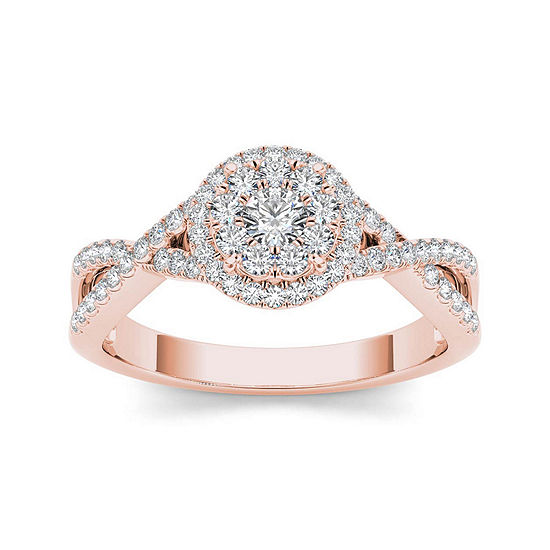 1 2 Ct Tw Diamond 10k Rose Gold Engagement Ring