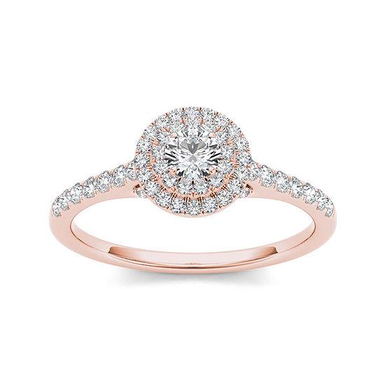 12 Ct Tw Diamond Halo 10k Rose Gold Engagement Ring
