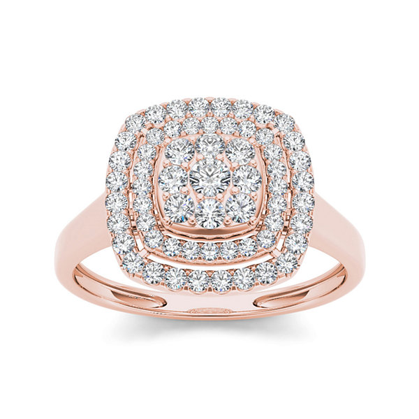 1/2 CT. T.W. Diamond Halo 10K Rose Gold Engagement Ring