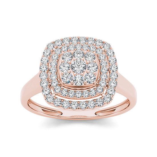 1/2 CT. T.W. Diamond Halo 10K Rose Gold Engagement Ring