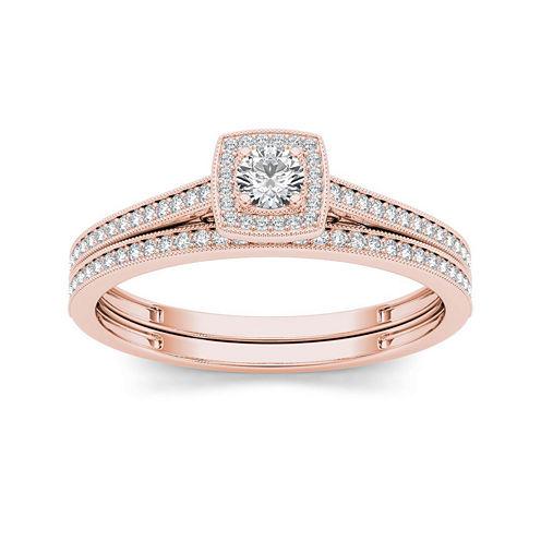 1/3 CT. T.W. Diamond 10K Rose Gold Bridal Set