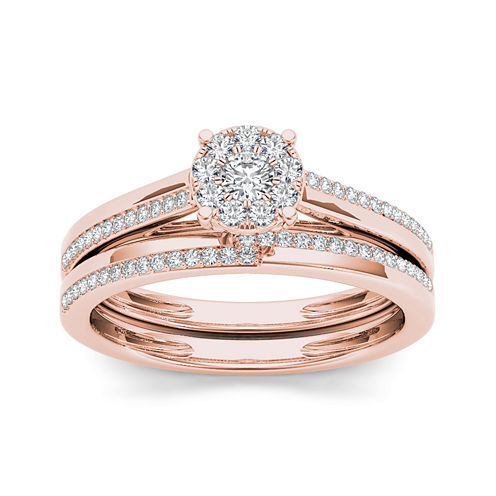 1/3 CT. T.W. Diamond 10K Rose Gold Round Cluster Bridal Set