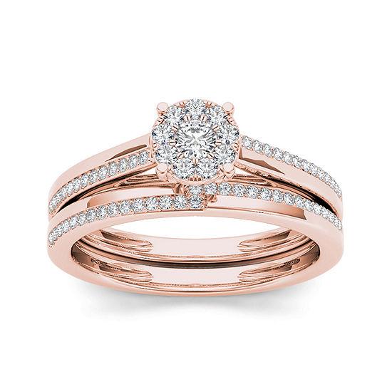 1/3 CT. T.W. Diamond 10K Rose Gold Round Cluster Bridal Set