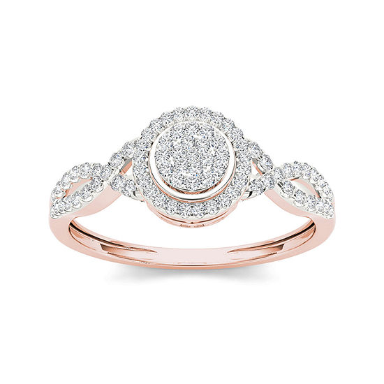 1 3 Ct Tw Diamond 10k Rose Gold Engagement Ring