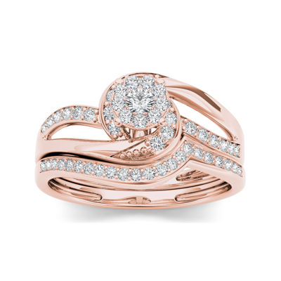 1/3 CT. T.W. Diamond 10K Rose Gold Bridal Set