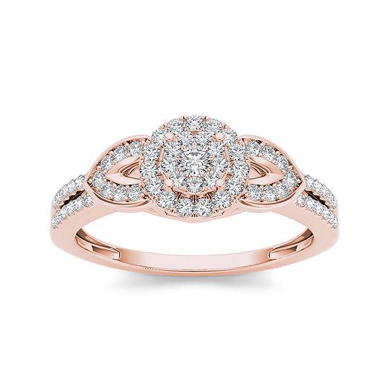 3/8 CT. T.W. Diamond 10K Rose Gold Engagement Ring