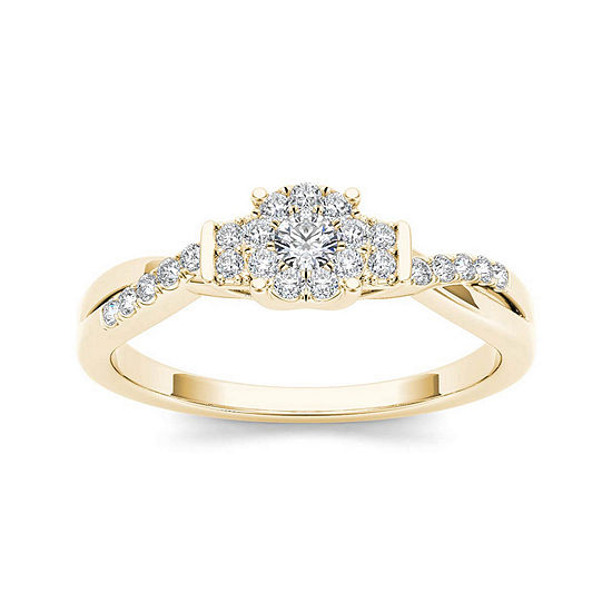 1 4 Ct Tw Diamond 10k Yellow Gold Engagement Ring
