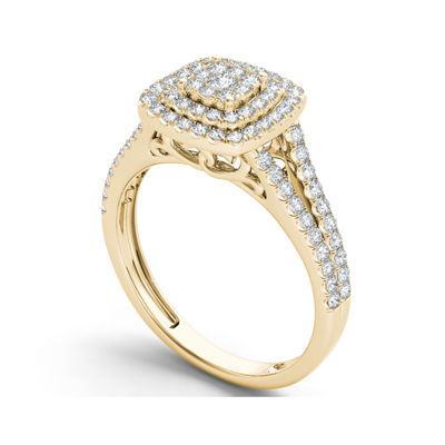 1/2 CT. T.W. Diamond Cluster 10K Yellow Gold Engagement Ring