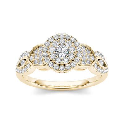 1 2 CT T W Diamond Cluster 10K Yellow Gold Engagement Ring