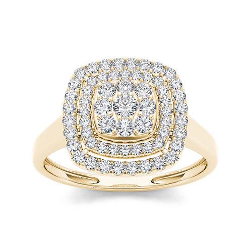1/2 CT. T.W. Diamond Halo 10K Yellow Gold Engagement Ring