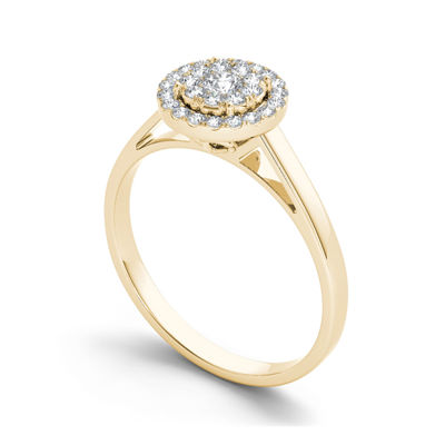 1/3 CT. T.W. Diamond 10K Yellow Gold Round Cluster Engagement Ring