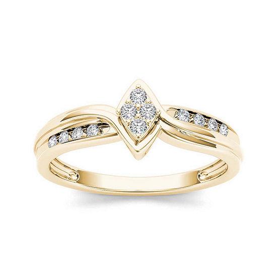1/10 CT. T.W. Diamond 10K Yellow Gold Engagement Ring