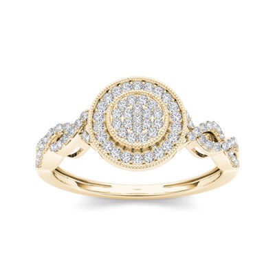 1/5 CT. T.W. Diamond 10K Yellow Gold Cluster Engagement Ring