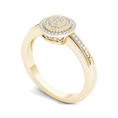 1/6 CT. T.W. Diamond 10K Yellow Gold Round Cluster Engagement Ring