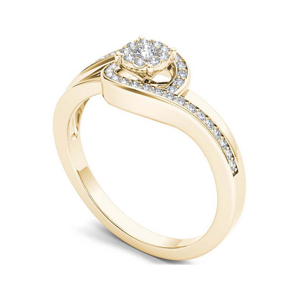 1/5 CT. T.W. Diamond Swirl 10K Yellow Gold Engagement Ring