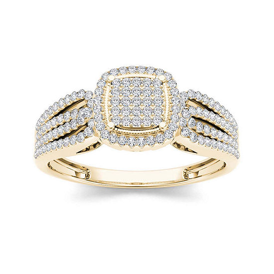 1 3 Ct Tw Diamond 10k Yellow Gold Engagement Ring