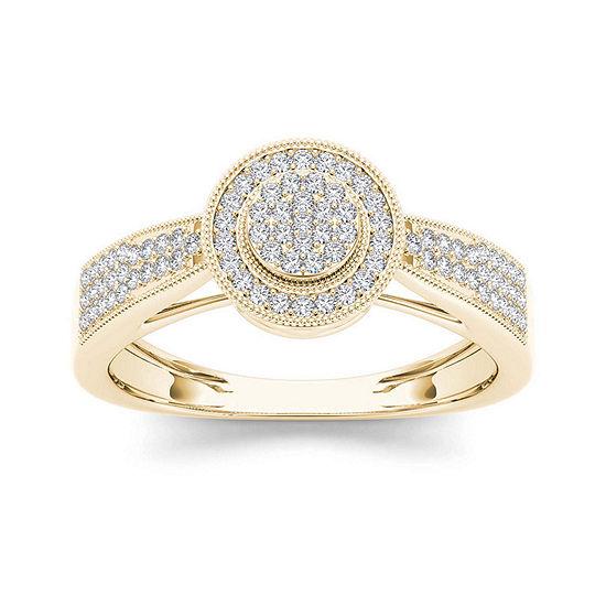 1 4 Ct Tw Diamond 10k Yellow Gold Engagement Ring