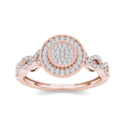 1/5 CT. T.W. Diamond 10K Rose Gold Cluster Engagement Ring