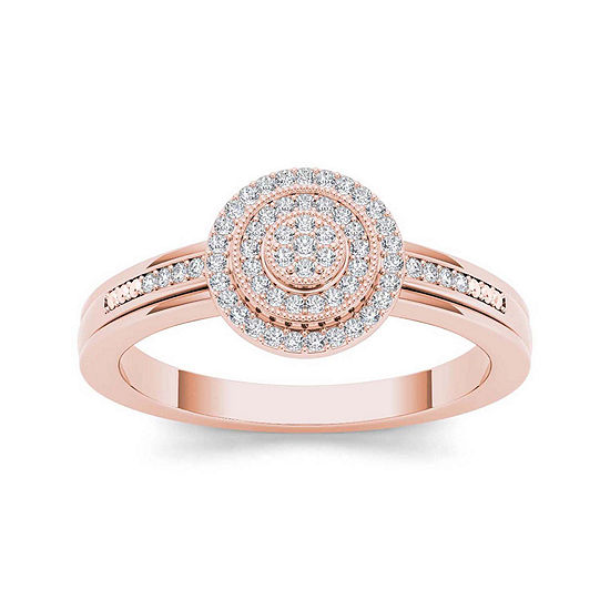 1/6 CT. T.W. Diamond 10K Rose Gold Round Cluster Engagement Ring