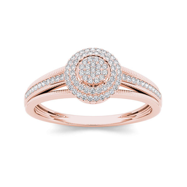 1/5 CT. T.W. Diamond 10K Rose Gold Engagement Ring