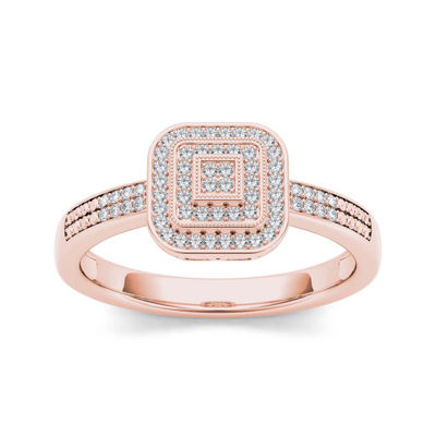 1/6 CT. T.W. Diamond 10K Rose Gold Engagement Ring