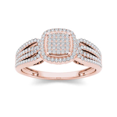 1/3 CT. T.W. Diamond 10K Rose Gold Engagement Ring