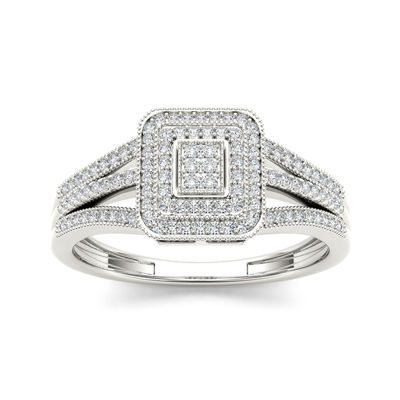 1/6 CT. T.W. Diamond 10K White Gold Engagement Ring