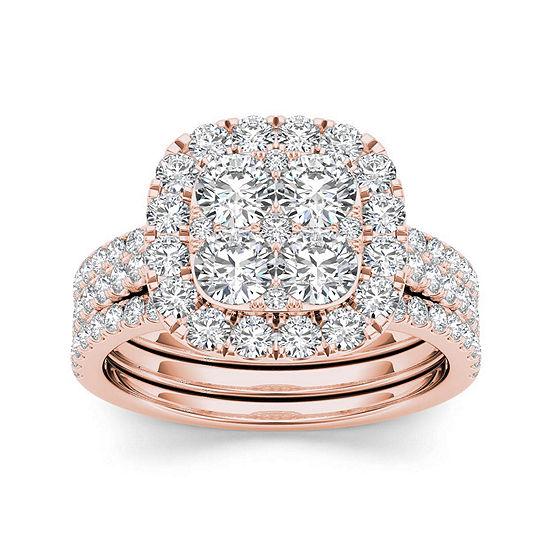2 CT. T.W. Diamond 14K Rose Gold Bridal Ring Set