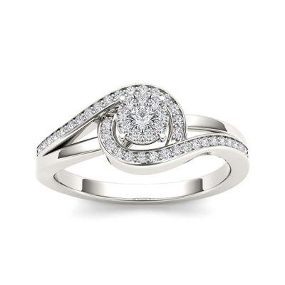 1/5 CT. T.W. Diamond Swirl 10K White Gold Engagement Ring