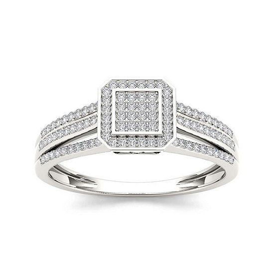 1 4 Ct Tw Diamond 10k White Gold Engagement Ring