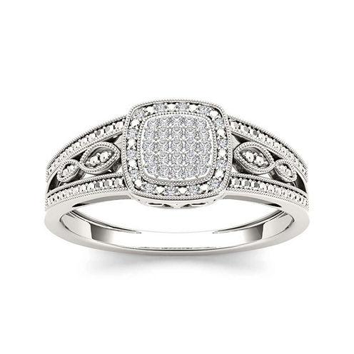 1/10 CT. T.W. Diamond 10K White Gold Engagement Ring