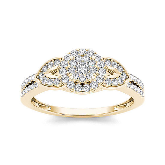 3 8 Ct Tw Diamond 10k Yellow Gold Engagement Ring