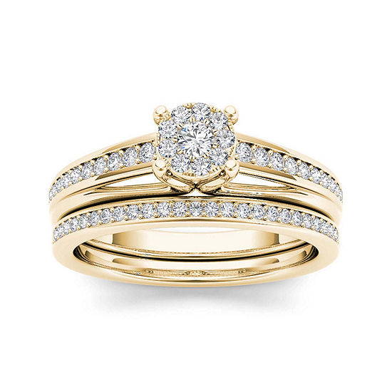 3/8 CT. T.W. Diamond 10K Yellow Gold Bridal Ring Set