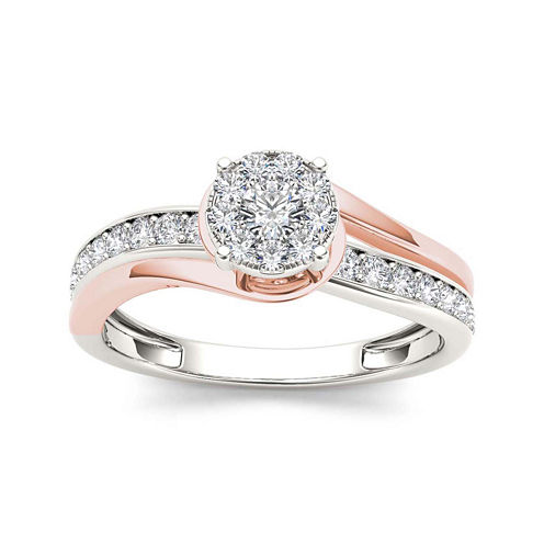 3/8 CT. T.W. Diamond 10K Two-Tone Gold Engagement Ring