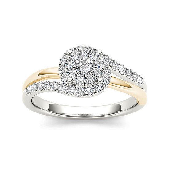 1/2 CT. T.W. Diamond 10K Two-Tone Gold Engagement Ring