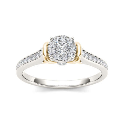 1/3 CT. T.W. Diamond 10K Two-Tone Gold Engagement Ring